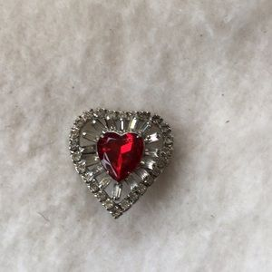 Vintage crystal/glass heart red and silver